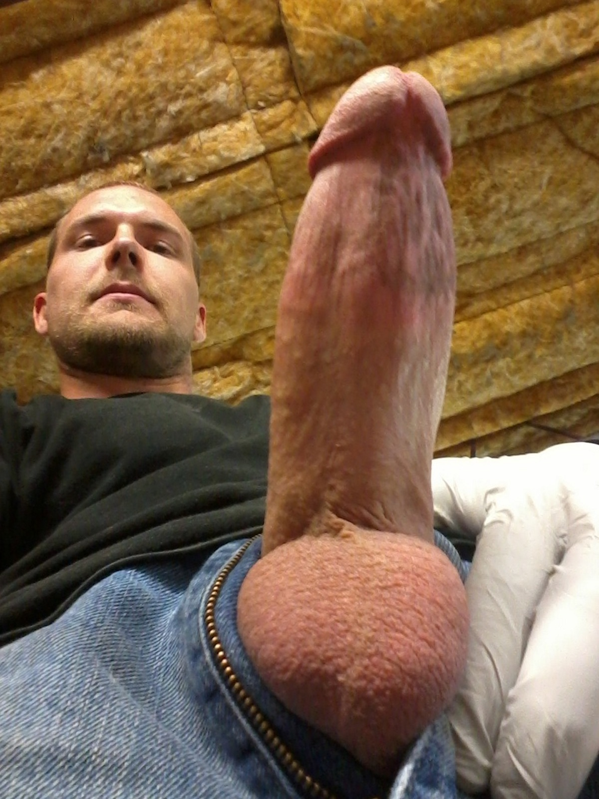 Handsome Blond Smooth Guy Jerks Off His Big Hairy Cock Twice